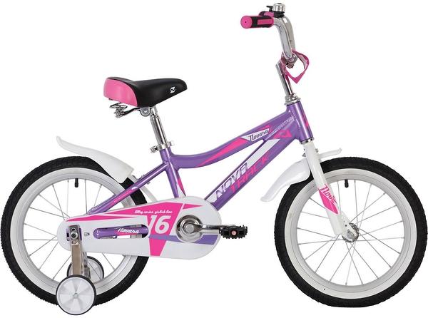 """139753 2 - Велосипед NOVATRACK NOVARA, Детский, р. 10,5"""", колеса 16"""", цвет Фиолетовый, 2020г."""