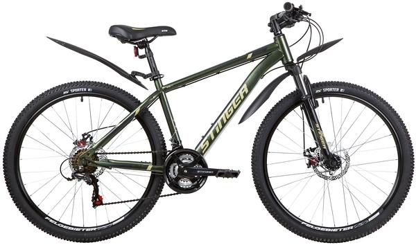 """139812 2 - Велосипед Stinger CAIMAN D, р.16, цвет Зеленый, 2020г., колеса 26"""""""