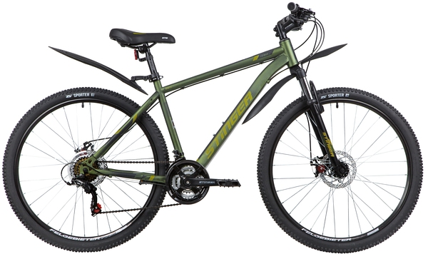 """139815 2 - Велосипед Stinger CAIMAN D, р.18, цвет Зеленый, 2020г., колеса 27"""""""