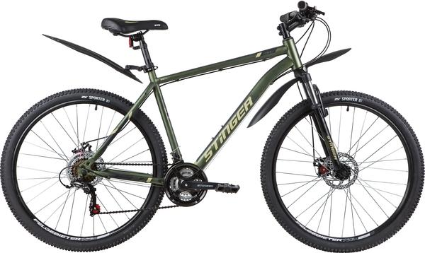 """139816 2 - Велосипед Stinger CAIMAN D, р.20, цвет Зеленый, 2020г., колеса 27"""""""