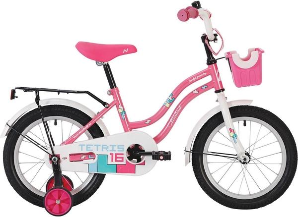 """140626 2 - Велосипед NOVATRACK TETRIS, Детский, р. 8,5"""", колеса 12"""", цвет Розовый, 2020г."""