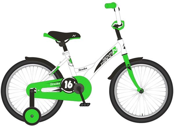 """140628 2 - Велосипед NOVATRACK STRIKE, Детский, р. 8,5"""", колеса 12"""", цвет Белый-зеленый, 2020г."""