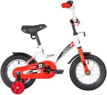 """140629 2 350x311 - Велосипед NOVATRACK STRIKE, Детский, р. 8,5"""", колеса 12"""", цвет Белый-красный, 2020г."""