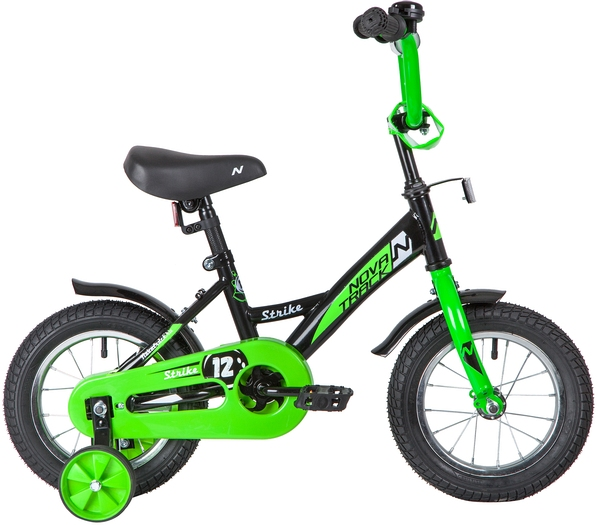 """140630 2 - Велосипед NOVATRACK STRIKE, Детский, р. 8,5"""", колеса 12"""", цвет Черный-зеленый, 2020г."""