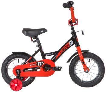 """140631 2 350x305 - Велосипед NOVATRACK STRIKE, Детский, р. 8,5"""", колеса 12"""", цвет Черный-красный, 2020г."""