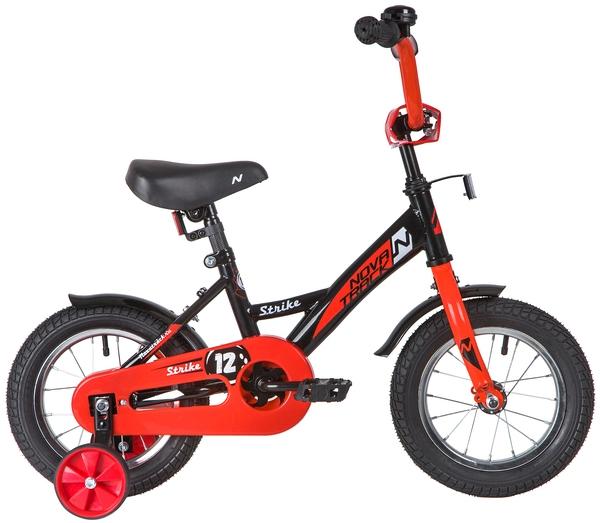 """140631 2 - Велосипед NOVATRACK STRIKE, Детский, р. 8,5"""", колеса 12"""", цвет Черный-красный, 2020г."""