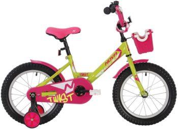 """140634 2 350x254 - Велосипед NOVATRACK TWIST, Детский, р. 8,5"""", колеса 12"""", цвет Зеленый-розовый, 2020г."""