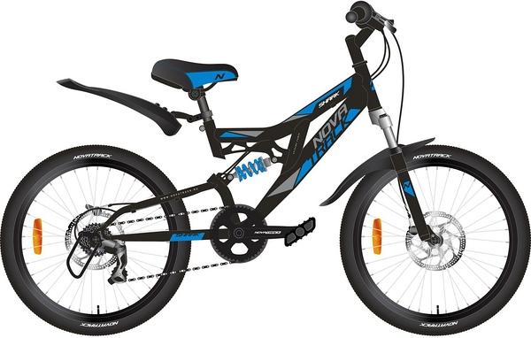 """140670 2 - Велосипед NOVATRACK SHARK, Скоростной, р. 12"""", колеса 20"""", цвет Черный, 2020г."""