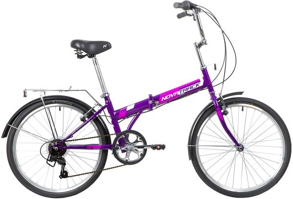"""140686 2 - Велосипед NOVATRACK TG6, Складной, р. 14,5"""", колеса 24"""", цвет Фиолетовый, 2020г."""
