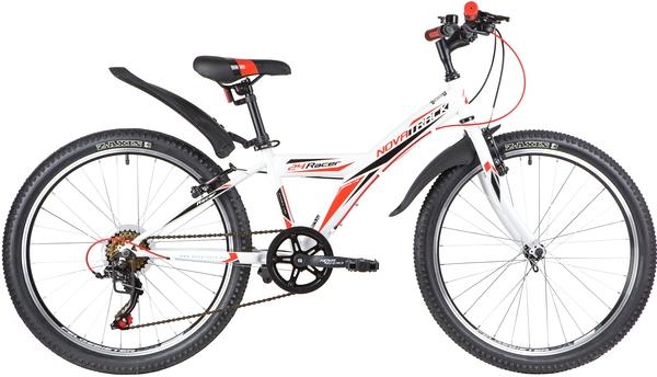 """140688 2 - Велосипед NOVATRACK RACER, Скоростной, р. 12"""", колеса 24"""", цвет Белый, 2020г."""