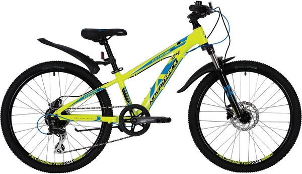 """140702 2 - Велосипед NOVATRACK EXTREME, Скоростной, р. 13"""", колеса 24"""", цвет Зеленый, 2020г."""