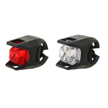 100244 2 350x350 - Набор велосипедных фонарей STG JY-3005 1 белый и 1 красный диод, 3 функции, батарея: CR2032*2/шт.(в
