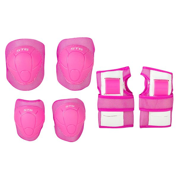 120245 2 - Защита детская STG YX-0304 комплект: наколенники, налокотник, защита кисти.Розовая, размер S