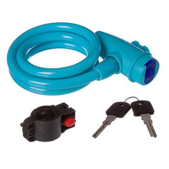126975 2 350x350 - Замок STG TY596, трос спиральный ,на ключе, диам.10х100см синий.