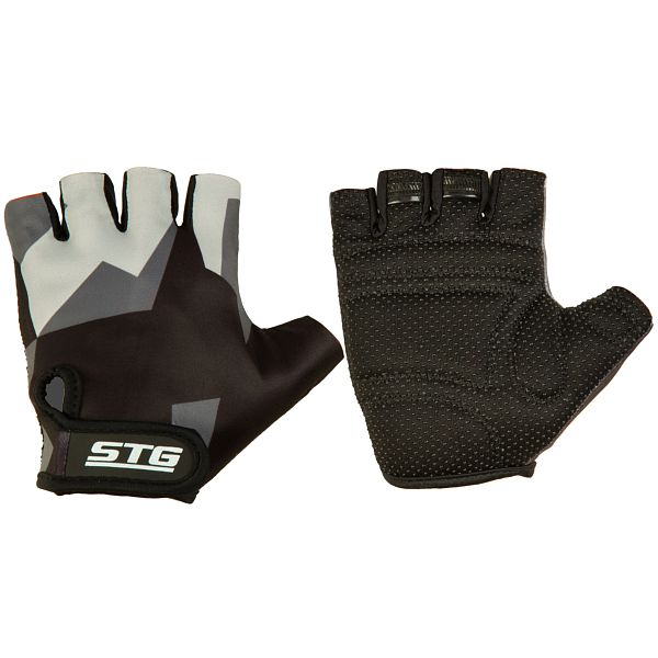 127238 2 - Перчатки STG летние с защитной прокладкой,застежка на липучке,размер М,серо/черные