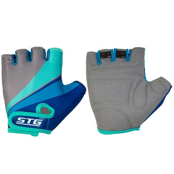 127249 2 - Перчатки STG летние с защитной прокладкой,застежка на липучке,размер М,серо/салат/бирюзовые