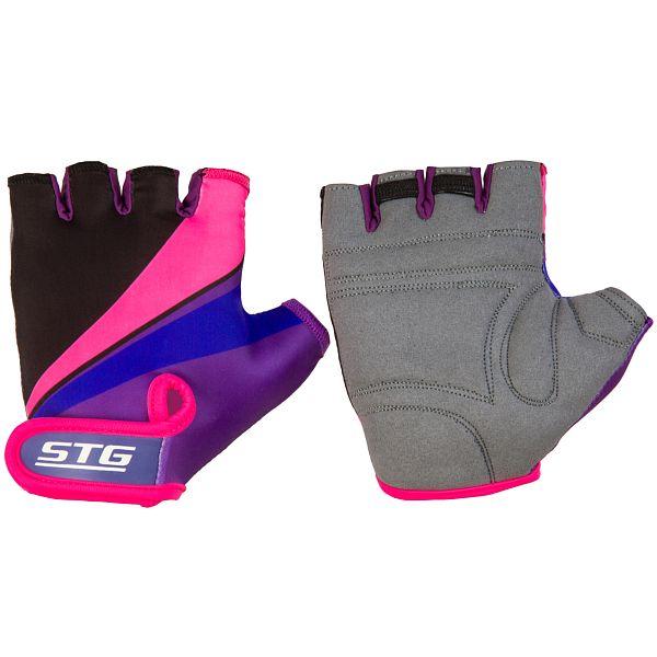 127254 2 - Перчатки STG летние с защитной прокладкой,застежка на липучке,размер ХС,Фиолет/черн/розовые