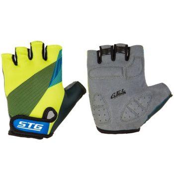 127256 2 350x350 - Перчатки STG летние с защитной прокладкой,застежка на липучке,размер М,черн/салат/синие