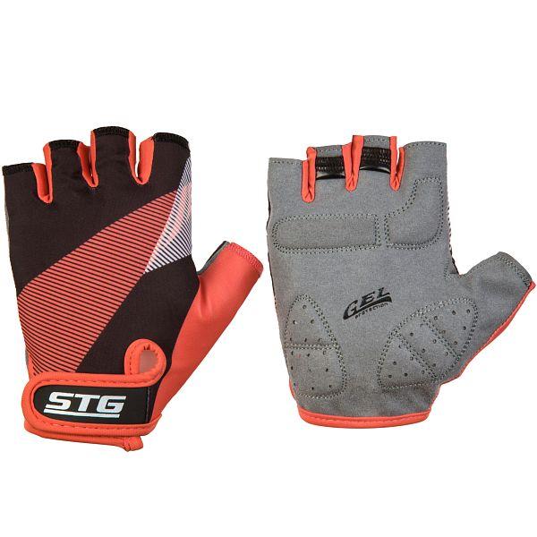 127265 2 - Перчатки STG летние с защитной прокладкой,застежка на липучке,размер С,черн/красный