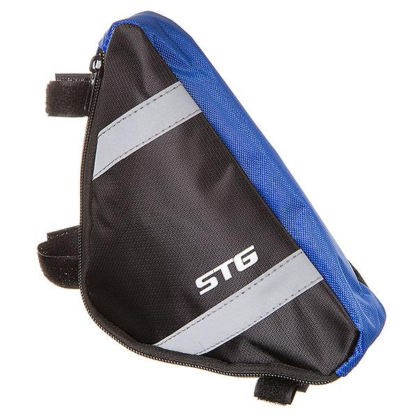127268 2 - Велосумка STG мод. 12490 размер. M под раму,треугольная ,черная/серая.