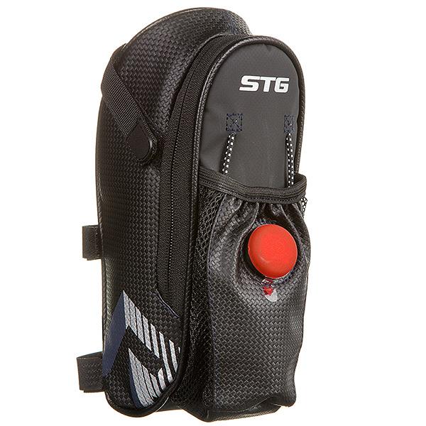 127270 2 - Велосумка STG131396 под седло ,с карманом ( сетчатым) для фляги, с красным фонарем сзади,1-о отделен
