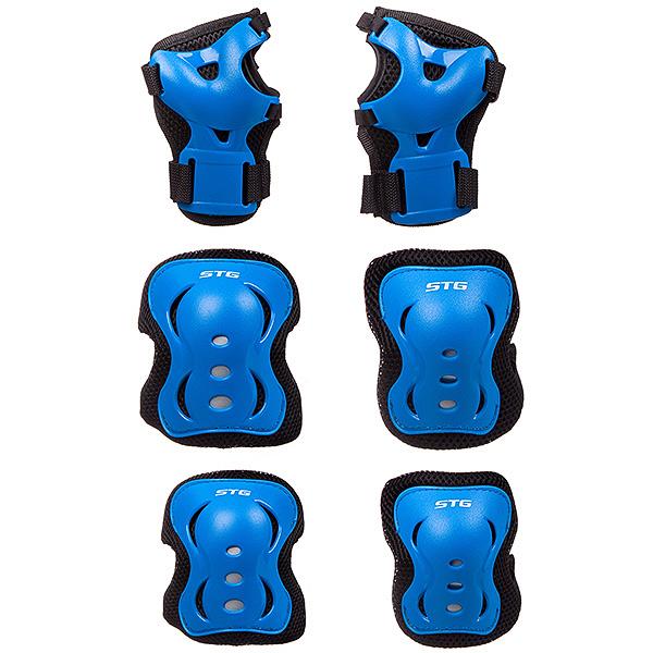 130978 2 - Защита детская STG YX-0308 комплект:наколенники, налокотник, защита кисти.черная, размер М