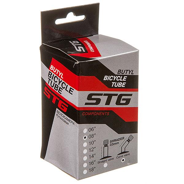 135828 2 - Камера велосипедная STG, бутил,8Х1,75/2,25, изогнутый автониппель 33мм (упак.: Коробка)