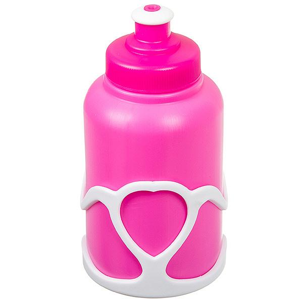 136020 2 - Велофляга STG с флягодержателем детская (Белый Флягодержатель, Розовая Фляга).
