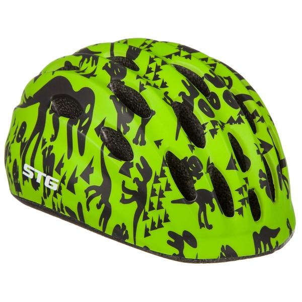 141251 2 - Шлем STG , модель HB10 , размер  M(52-56)cm черн/зелен, с фикс застежкой.