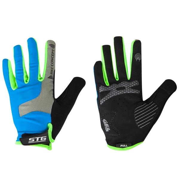 141281 2 - Перчатки STG AL-05-1871 синие/серые/черные/зеленые   полноразмерные  M